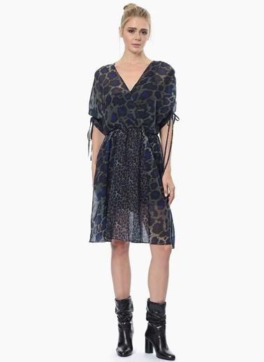 NetWork V Yaka Desenli Şifon Elbise Saks